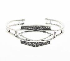 Lucky Brand Pave Hematite Silver Tone Openwork Cuff Bracelet $49 NEW