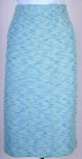 NWT ST.JOHN Collection Womens Knit Blue Yellow Tweed Skirt Sz 14