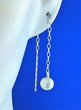 925 Sterling Silver Fresh Water Pearl Pull Through Earrings dangle