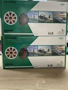 """PACKAGE DEAL! 2 PAIRS Kicker 43KM654LCW Marine 6 1/2""""  LED Light Boat Speakers"""