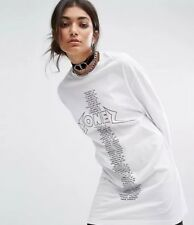 Topshop Bones Oversized Long Sleeve T-shirt Dress With Tour Print XS