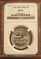 1936 Wisconsin Half Dollar 50c Coin 1/2 of $1 ~ NGC MS 65 ~ GEM BU ~