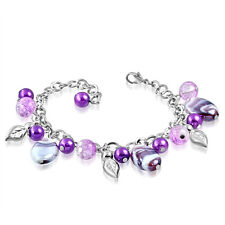 Purple White Pearl Glass Bead Leaf Charm Bracelet nickel free jewellery UK