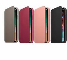 Original Apple iPhone X Leder Folio Case Flip Cover Hülle Originalverpackung