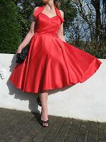 STUNNING PIN UP 1940/50s STYLE FULL CIRCLE SWING/JIVE DRESS 16 ROCKABILLY,