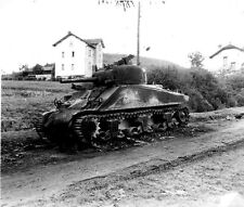 B&W WW2 Photo WWII M4 Sherman Tank Destroyed US Army World War Two Armor