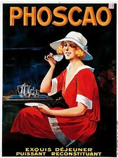1900s French Phoscao Coffee Espresso Food & Wine Advertisement Art Poster Print