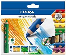 12er Set Lyra Groove Triple1 3in1 Buntstift Wachsmalkreide Aquarellstift Woody