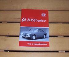 Uso e manutenzione Alfa Romeo GTV GT 2000 VELOCE Owner's manual Instruction Book