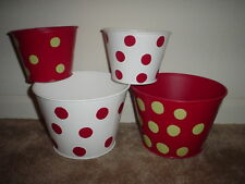 4PC CHRISTMAS RED/WHITE/GREEN POLKA DOT PAINTED METAL CONTAINERS/PLANTERS NEW