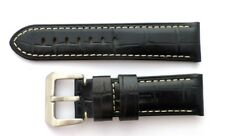 24mm Premium Leather Alligator-Style Band Strap w/316L Buckle For PANERAI