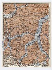 1911 ORIGINAL ANTIQUE MAP OF LAGO DI COMO / LAKE COMO / ITALY