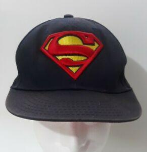 Vintage DC Comics Superman Embroidered Blue Snapback Hat Cap