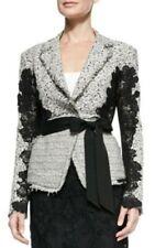 Donna Karan 2 Black Label Blazer Jacket Career Lace Grosgrain Ivory Tweed $2895