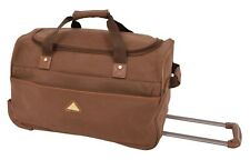 "Wheeled Holdall 21"" Medium Camel Faux Leather Travel Duffle Cabin Trolley Bag"
