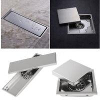 Stainless Steel Floor Shower Linear Drain Invisible Tile Insert Bathroom Grate