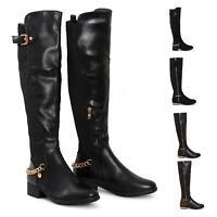 Womens Ladies Knee High Gold Buckle Chain Leopard Block Heel Zip Low Boots