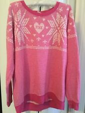 AWESOME ~VICTORIAS SECRET PINK~ SNOWFLAKE UGLY OVERSIZED HOLIDAY SWEATER SMALL