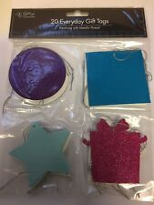 20 X EVERY DAY-XMAS Gift Tags WITH STRINGS - ASST SHAPES GLITTER AND PLAIN MIX