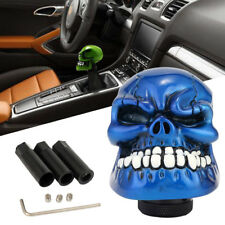 Blue Car MT Manual Gear Knob Shift Shifter Lever Wicked Carved Skull Universal