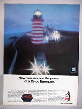 Delco Energizer Car Battery PRINT AD - 1970 ~ West Quoddy Head, Maine lighthouse