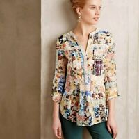 Maeve Anthropologie Abella Pintuck Lace Trim Patchwork Floral Blouse Top Size 6