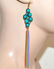 ORECCHINI donna oro fili pendenti pietre strass verde azzurro bijoux F289