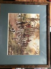 Fox Hunt Picture Foxhound Dogs Horse Riding George Wright Matted Framed