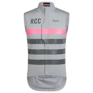 NEW Rapha RCC Men's Cycling Pro Team Lightweight Rain Gilet Vest XL Pink Grey