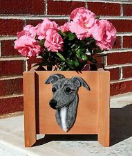 Italian Greyhound Planter Flower Pot Blue