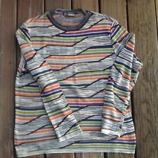 Vintage Missoni Sport Chevron Orange Black Purple Sweater L Large Crew Neck 80s