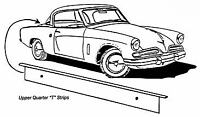 Studebaker CK Coupe & Hawk Upper Quarter T Strip 1953-1964