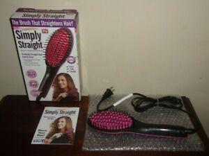 Simply Straight Ceramic Hair Straightener Brush LCD Display -Temperature Control