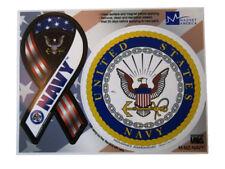 "(2 Pack) U.S. Navy Emblem & Ribbon 4"" Inch Magnet (Car / Fridge / Other)"