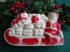 Vintage Irwin Celluloid Santa On Sled With Gifts&Horse, Elephant,Doll Xmas Decor