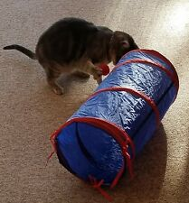 """Cat Kitten Tunnel With Hanging Dangle Toys Balls 21"""" x 10"""" Pet Essentials New"""