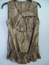 Top Ladies Sleeveless With Bow Animal Print by Et Vous Size 10 Polyester