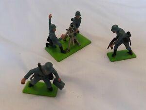 Vintage Britains Deetail German Mortar and 2 soldiers job Lot Bundle 1971 WW2