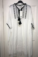 ZARA OFF-WHITE EMBROIDERED ASYMMETRICAL TUNIC DRES WITH TASSELS SIZE S-M BNWT