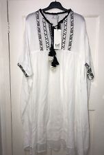Zara Off-white Embroidered Asymmetrical Tunic Dres With Tassels Size S-m