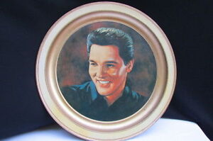 FUN HOME DECOR COLLECTORS BIG METAL PLATE GOLD WHITE ELVIS ARON PRESLEY PAINTING