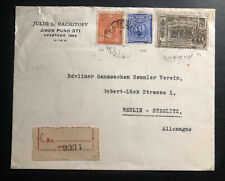 1929 Lima Peru Registered commercial Cover to Berlin Germany