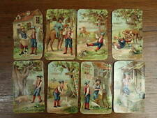 8 x CHROMO TRADE CARDS Bon Point JEAN LE VEINARD Lucky John Serie complete 1880