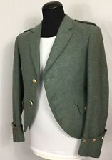 Mens Green Tweed Argyle kilt jacket Size 34-36 chest Scottish Traditional Casual