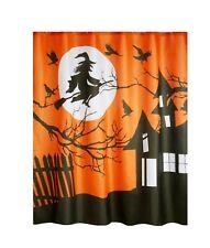 Halloween Shower Curtain Flying Witch Haunted House Orange Black Fabric Bath