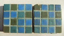 "2 Antq Batchelder Arts & Crafts Salvaged Blue & Green 4"" x 4"" Fireplace Tiles"