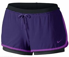 New NIKE Full Flex 2-in-1 Women's Training Shorts w/ Tights Purple/Blk 642669 XL