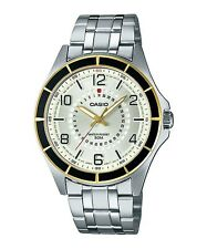 CASIO SILVER DIAL DATE TWO-TONE CASE ST. STEEL MEN'S WATCH MTF-118BD-9A NEW