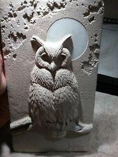 """Vintage Large 17 3/4"""" Chalkware/Plaster Owl Figurine Signed & Numbered"""