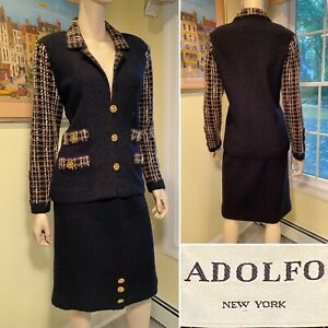 Vintage ADOLFO Sz 6/Small Black Brown Boucle Tweed Stretch Wool Knit SKIRT SUIT